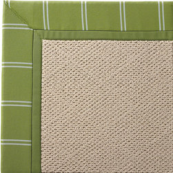 Frontgate - Outdoor Parkdale Rug in Sunbrella Topside Green with Green Border - 5' x 8' - Wicker-textured base is woven in soft and durable olefin. Cleans with soap and water. Sunbrella® fabric is resistant to fading, staining, and mildew. Rug pad recommended (sold separately). Made in the USA. Our Parkdale Rug with colorful borders matches the premium all-weather fabrics featured on our replacement cushions, pillows, draperies, and umbrellas. This all-weather rug will work just as beautifully indoors as it does outside. . . Sunbrella fabric is resistant to fading, staining, and mildew. . .