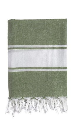 Nine Space - Classic Fouta Towel, Green - Foutas have a long, rich heritage. Originally used in Turkish bath houses, this modern take adds a pop of personality wherever you use it — in the master bath, draped on the back of a chair or spread across a table. Made from ecofriendly bamboo, it's highly absorbent, breathable and ultra soft.