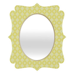 "DENY Designs - Caroline Okun Yellow Spirals Quatrefoil Mirror - Mirror, mirror on the wall. Whos the fairest one of all? Well thats easy our quatrefoil mirror, of course! With a sleek mix of engineered wood trim thats unique to each piece and a glossy aluminum frame, the quatrefoil mirror makes you feel oh so pretty every time you catch a glimpse.Features: -Quatrefoil mirror. -Caroline Okun collection. -High gloss aluminum with UV resistant coating. -Engineered wood frame. -Quality glass mirror. -Includes wire mount with picture hanger and one C battery. -.Dimensions: -14.2"" H x 16.6"" W x 1.5"" D: 10 lbs. -23.6"" H x 28"" W x 1.5"" D: 15 lbs. -30.6"" H x 36"" W x 1.5"" D: 20 lbs."