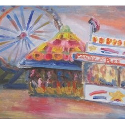 Candy Apples And Popcorn (Original) By Dixie Galapon - We just had our County Fair in San Diego. This was one of the scenes that I enjoyed at the Fair. I like the fun colors in the Ferris wheel and on to of the circus tent. This painting was created alla prima - in one sitting.