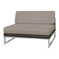 Mama Green - Jane Sectional Seat, Taupe - The Jane collection by Mamagreen is a contemporary deep seating lounge line. Mamagreen offers stainless steel arm trays and low table trays to add more function to this beautifully classic and invitingly comfortable line. Weaves are done by Viro and frames can be either powder coated aluminum, stainless steel 304 or stainless steel 316L marine grade. Cushions are comprised of QuickDry foam, Sunbrella fabrics, and batyline sling woven in to the base of both the seat rest and backrest to ensure moisture passes through quickly, preventing the build up of mold or mildew in the elements.