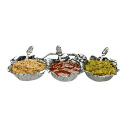Arthur Court - Grape 3-Bowl Condiment Server Set - Triple treat! From mustard, ketchup and relish to spicy salsas and salty tapenades, this condiment server set keeps all your favorite toppers close at hand. Cast from substantial aluminum, you can place the set in the fridge or freezer to keep things perfectly chilled once they are set out on the sideboard or dinner table.