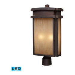 Elk Lighting - Elk Lighting Sedona 2 Light Outdoor Post Light in Clay Bronze - 2 Light Outdoor Post Light in Clay Bronze belongs to Sedona Collection by Simplicity Of Craft And Form Gives The Sedona Collection A Very Attractive Look Through Its Minimalist Approach. Inspired By The Architecture And Casual Lifestyle Of The Desert Southwest, This Collection Features Clean Lines With Recessed Edges, Caramel Beige Glass, And A Clay Bronze Finish. - LED, 800 Lumens (1600 Lumens Total) With Full Scale Dimming Range, 60 Watt (120 Watt Total)Equivalent , 120V Replaceable LED Bulb Included Post Light (1)
