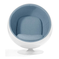 """Aeon Furniture - Luna Circle Lounge Chair - White/Light Blue - Fiberglass Lounge Chair in White Gloss with Light Blue Fabric. High quality swivel stainless steel ball bearing mechanism, ensuring maximum durability and smooth rotation. 5-panel interior. CA117 & CA119 fire rating on all materials. Felt protective covering on underside of base insures against scratching of both floor and chair. Removable seat & back cushions. Requires a doorway of 32"""" or greater . Assembly Required. Seat Height: 16.5. 38.25 in. L x 42.5 in. W x 47.25 in. H (146 lbs.)Circle lounge chair in FG002 white gloss fiberglass shell,  aluminum base with T508 light blue fade resistant fabric upholstery. Classic 5-panel interior. Requires doorway of 32"""" or greater."""