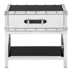 "Flight End Table - Polished stainless steel framing and black glass gives our Flight Occasional Tables a streamlined appearance with a touch of world travel. Drawers are fully lined and have full-grain leather handles. 24""W x 20""L x 24""H"