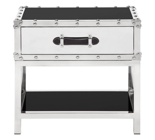 """Flight End Table - Polished stainless steel framing and black glass gives our Flight Occasional Tables a streamlined appearance with a touch of world travel. Drawers are fully lined and have full-grain leather handles. 24""""W x 20""""L x 24""""H"""