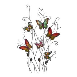 UMA - Butterfly Blessings Metal Wall Hanging - Six colorful butterflies gather and flutter atop a twist of delicate stems and tendrils
