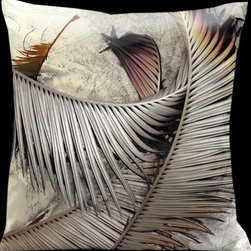 Lama Kasso - Impressions Sandstone with Pewter Accents 18 x 18 Satin Pillow - -Satin Lama Kasso - 153