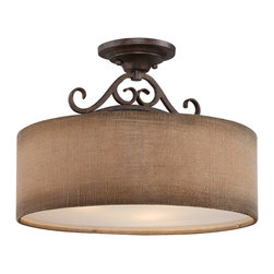 Quoizel - Quoizel QZ-CLS1717OZ Carlsbad Semi-flush Mount Ceiling Light - Simple elegance distinguishes the Carlsbad Collection with its graceful curves that boast organic charm. At home in transitional as well as natureinspired decor, the Carlsbad is enhanced by an Old Bronze finish and naturaltoned linen shade.