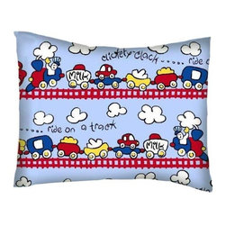 SheetWorld - SheetWorld Twin Pillow Case - Percale Pillow Case - Fun Train Tracks-Made in USA - Twin pillow case. Made of an all cotton flannel fabric. Side Opening. Features the one and only fun train tracks!