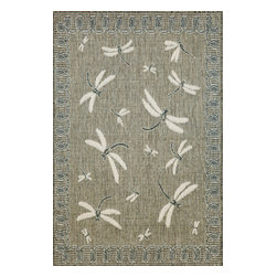 """Trans-Ocean - Dragon Fly Silver Rugs 1746/68 - 39""""X59"""" - Casual and Simple pattern combined with beautifully blended yarns in modern colors make this Machine Made rug rise above the rest.Wilton Woven in Turkey of 100% Polypropylene and UV stabilized for Indoor or Outdoor use.A loose weave of Polypropylene creates the look of natural fibers but is easy to care for."""