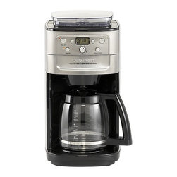 Cuisinart® Grind and Brew 12 Cup Coffee Maker - Grind and brew a fresh 12-cup pot with Cuisinart's all-in-one coffee system. State-of-the-art brushed stainless coffee maker does it all: just fill the 8-ounce hopper with whole beans, and the built-in burr grinder will grind them to perfection prior to brewing. Grind control and brew settings let you program from 2–12 cups, fine-tuned the way you like it—mild, medium or strong. Easy-to-use control panel features 24-hour programming, quick-pause function to sneak a cup during brewing, and a special 2- to 4-cup setting. Charcoal water filter keeps out calcium and chlorine; gold-tone filter locks in flavor. Grind feature may be deactivated to brew pre-ground coffee.