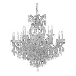 The Gallery - chandelier Crystalighting - Maria Theresa 100% crystal chandelier. A great European Tradition. Nothing is quite as elegant as the fine crystal chandeliers that gave sparkle to brilliant evenings at palaces and manor houses across Europe. This two-tier version from the Maria Theresa collection is decorated with 100% crystal that captures and reflects the light of the candle bulbs, each resting in a scalloped bob ache. The timeless elegance of these chandeliers is sure to lend a special atmosphere in every home. Assembly required. 16 Lights. Finish: Silver.