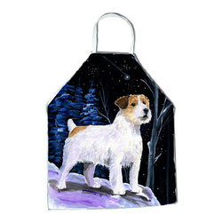 Caroline's Treasures - Starry Night Jack Russell Terrier Apron - Apron, Bib Style, 27 in H x 31 in W; 100 percent  Ultra Spun Poly, White, braided nylon tie straps, sewn cloth neckband. These bib style aprons are not just for cooking - they are also great for cleaning, gardening, art projects, and other activities, too!