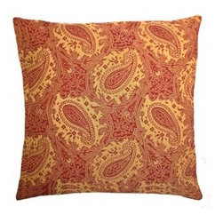 5 Surry Lane - Duralee Red Paisley Pillow - Warm up your room with this timeless paisley printed throw pillow. The pattern will add texture and richness to your bedding or sofa.