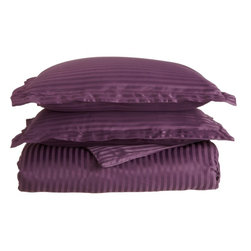 1500 King/California King Duvet Set Microfiber Stripe - Plum - Explore the amazing feel of our Vanessa Collection Microfiber Duvets. Made with 100% Microfiber and designed to resist wrinkles and pilling, they will stay like new through many machine wash cycles. Strong and durable, yet luxuriously soft, these duvets offer all the advantages of standard cotton duvets at less cost to you!