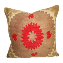 "Metrohouse Designs - ""Consigned"" Vintage Suzani Bolinpush Accent Pillow - Outstanding Vintage Bolinpush Suzani Pillow"
