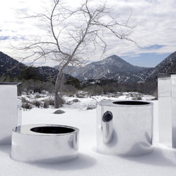 Urban Nature Planters in Chrome - Premium modern planters for upscale indoor and outdoor spaces.