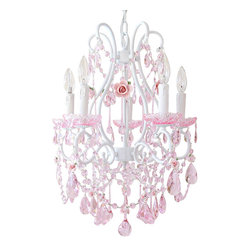 5 Light Fairytale Pink Crystal Chandelier - Inspired by centuries-old Fairy-tales' fantasy and romance, this 5-light white chandelier has been dressed to impress with loads of pink crystal prisms and fancy-cut pink glass bobeches! Spectacular pink porcelain roses in full bloom make this chandelier a true vision in pink, elegant, sparkly and undeniably dreamy…