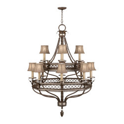 Fine Art Lamps - Villa Vista Chandelier, 807240ST - You don't have to live in an ancient villa to enjoy an old-world aesthetic. The hand-sewn shades on this multitiered chandelier create a warm glow that would surely fill a dining room or foyer with beautiful light. Not to mention the glistening luster of the many silver-leafed accents found throughout this intricate design.