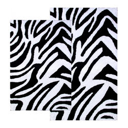 """Chesapeake Merchandising - 2 Piece Zebra Bath Rug Set in Black & White - This Animal Print Bath Rug Set adds a distinct fashion to your bathroom.  It is 100% plush cotton.   The bath rug set includes a 21""""x34"""" and 24""""x40"""" bath rug.  Machine Tufted with anti skid spray latex back. Dimensions: 21""""W X 34""""L and 24""""W X 40""""L; Color: Black, White; Material:  Cotton; Shape: Rectangular; Construction: Machine Tufted and Powerloom"""