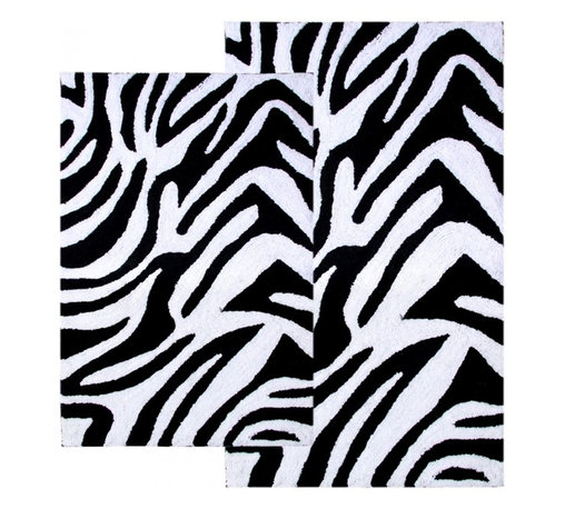 "Chesapeake Merchandising - 2 Piece Zebra Bath Rug Set in Black & White - This Animal Print Bath Rug Set adds a distinct fashion to your bathroom.  It is 100% plush cotton.   The bath rug set includes a 21""x34"" and 24""x40"" bath rug.  Machine Tufted with anti skid spray latex back. Dimensions: 21""W X 34""L and 24""W X 40""L; Color: Black, White; Material:  Cotton; Shape: Rectangular; Construction: Machine Tufted and Powerloom"