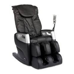 """Cozzia 16018 BLACK Full Body Massage Chair Recliner w/ LED Remote Control - Features:- Air pressure system for feat & calves- Three pre-programmed massages- Manual roller adjustments - kneading & tap- Easy to use LED remote- Massages: Swedish, shiatsu, kneading, clapping, tapping, rolling, dual-action- S Shaped Backrest Rail - The S Shaped Backrest Rail is able to accommodate users by providing them with a unique and contoured back massage experience- Air Pressure System - The Air Pressure System provides deeper level therapy to lower extremities that include the feet and calves- 7 Massage Styles - The 7 Massage Styles give users a diverse experience allowing for degrees of therapy ranging from superficial to deep tissue level massage- Automatic Angle Adjustments - The Automatic Angle Adjustments are designed to make slight manipulations during a massage to provide comprehensive coverage- Finish - This Cozzia massage chair is available in both a black or brown durable synthetic leather finish.- Dimensions - 45""""(H) x 27""""(W) x 53.5""""(OD)- Warranty - 1 Year Parts & Labor / 2 Year Parts Service Warranty 987c"""