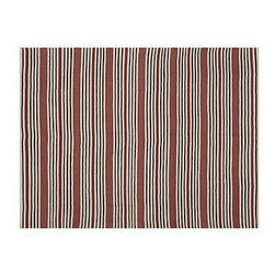 Greenwich Stripe Recycled Yarn Indoor/Outdoor Rug, 8 x 10', Blue - Casual and rinses clean, our rug keeps heavily trafficked areas such as porches, kitchens and patios defined and stylish. Hand loomed of recycled polyester yarns. Reversible for twice the wear. For indoor or outdoor use. Imported. Internet Only.