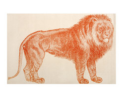 """Thomas Paul - Lion Bath Mat - The Thomas Paul Lion bath mat features a hand screened print on 100% cotton. The bath mat features the majestic Lion in orange. Historically, the lion has represented royalty, leadership, & courage. The bath mat measures 36"""" x 24"""". The orange print adds a pop of color to your bathroom.   About the Artist: After graduating from NYC's famed FIT, Thomas Paul started his career as a colorist and designer at a silk mill. Eventually, he leveraged his knowledge of silk materials & print to launch a neckwear line of his own. Over time, Paul loved the idea of applying menswear print and design into a collection of home decor, which is what we see in his goods today. His background has embedded in him a passion for quality production techniques. Even as his brand grows, he continues to ensure all of his prints are hand screened - a slow, detailed process that results in each piece being a unique piece of artwork. Paul also pushes the envelope in terms of bold prints and hand ground materials.       """"My vision for the thomaspaul brand has always been about combining classic design motifs from different periods in textile design. Incorporating anything from an 18th century Damask pattern to a camouflage print. The unifying thread between so many different styles is to change the designs so they are updated for today. For me this means changing the scale, so they are always bold, and reducing down the colors and details, so most designs are reduced to two or three colors and become very flat, bold prints. I am always looking to vintage fabrics and motifs for inspiration and new ideas, but always try to update these to look good for today."""" - Thomas Paul   Product Details:"""