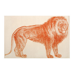 "Thomas Paul - Lion Bath Mat - The Thomas Paul Lion bath mat features a hand screened print on 100% cotton. The bath mat features the majestic Lion in orange. Historically, the lion has represented royalty, leadership, & courage. The bath mat measures 36"" x 24"". The orange print adds a pop of color to your bathroom.   About the Artist: After graduating from NYC's famed FIT, Thomas Paul started his career as a colorist and designer at a silk mill. Eventually, he leveraged his knowledge of silk materials & print to launch a neckwear line of his own. Over time, Paul loved the idea of applying menswear print and design into a collection of home decor, which is what we see in his goods today. His background has embedded in him a passion for quality production techniques. Even as his brand grows, he continues to ensure all of his prints are hand screened - a slow, detailed process that results in each piece being a unique piece of artwork. Paul also pushes the envelope in terms of bold prints and hand ground materials.       ""My vision for the thomaspaul brand has always been about combining classic design motifs from different periods in textile design. Incorporating anything from an 18th century Damask pattern to a camouflage print. The unifying thread between so many different styles is to change the designs so they are updated for today. For me this means changing the scale, so they are always bold, and reducing down the colors and details, so most designs are reduced to two or three colors and become very flat, bold prints. I am always looking to vintage fabrics and motifs for inspiration and new ideas, but always try to update these to look good for today."" - Thomas Paul   Product Details:"
