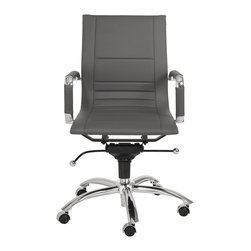 Euro Style - Euro Style Owen Low Back Office Chair 01280GRY - A strong variety of practical colors are just the beginning. This low back office companion has 'multi-paneled' seat and back for extra comfort and durability. The Owen Low Back also has removable armrest sleeves giving you the option of more or less chrome.
