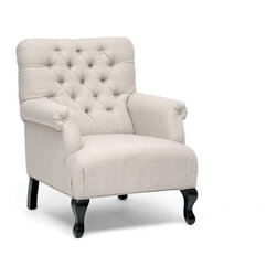 Baxton Studio - Baxton Studio Joussard Beige Linen Club Chair (set of 2) - Curl up in front of a fireplace or tuck yourself in with your favorite book in this oversized Joussard club chair. Button-tufting and scroll-shaped armrests add to its design details, but it also boasts a strong supporting statement by way of its sturdy birch frame and foam cushioning. Linen upholstery completes its classic appeal.