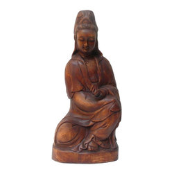 Golden Lotus - Chinese Wood Carved Kwan Yin Figure - This Chinese Kwan Yin statue is carved from a solid dense natural wood which has natural yellowish color. The statue was collected from a closed out collectible store in Beijing.
