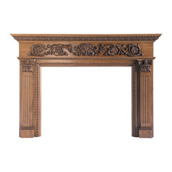 Rinceau Scrolls with Floral Basket Full Surround Mantel MAN9015LW - Shown stained. Available unfinished - $2,780.