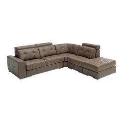 ESF Furniture - ESF Emma Modern Leather Sectional w/Sleeper - Modern Style Sectional Sofa