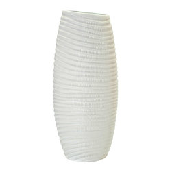 Kouboo - Coco Porcelain Tall Vase - This porcelain vase serves as a striking contrast for a spray of bright, tropical blooms. Hand-shaped from porcelain, this vase is also water friendly for fresh-cut flowers. 1 year limited warrantyHand-shaped from PorcelainHolds water for fresh cut flowersHand wash with mild soapWeighs 10 lbs