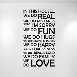 "Innovative Stencils - ""In This House We Do"" Vinyl Wall Decal Sticker 22"" W x 40"" H, Matte Black - In This House... Wall Decal"