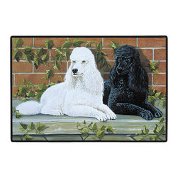 285-Poodle Doormat - 100% Polyester face, permanently dye printed & fade resistant, nonskid rubber backing, durable polypropylene web trim on the porch or near your back entrance to the house with indoor and outdoor compatible rugs that stand up to heavy use and weather effects