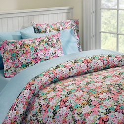 Meadow Floral Duvet Cover And Pillowcases - Add color to your bedroom with a chromatic chrysanthemum collage coverlet.