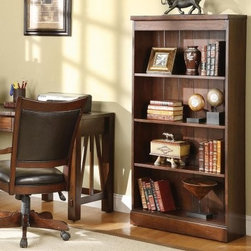 Riverside Castlewood Bookcase - A gorgeous addition to any office, den, or living room, the Riverside Castlewood Bookcase features a mindi hardwood construction with mindi veneers and a warm tobacco finish. It has two adjustable and one fixed shelf to give you plenty of room for your books and decor items, and comes with tip-restraining hardware for safety.Notes on Riverside ConstructionAll Riverside domestic furniture is constructed of fine oak, ash, poplar, and pine wood. These wood types are durable and feature beautiful, open grains that make them much preferred among furniture manufacturers. Each piece of wood is first graded for quality, then kiln-dried to remove excess moisture and prevent splitting. The wood is then constructed into a high-quality furniture piece using a combination of hardwood solids and hand-selected veneers. Techniques used on Riverside pieces include dovetail joinery, heavy-duty drawer roller guides, and multi-step finish applications that include hand-sanding and polishing for a deep, lustrous result. All Riverside furniture is given this high-quality treatment to ensure the beauty and durability of your final product.About Riverside FurnitureRiverside has been growing for more than half a century. The company's founder, Herman Udouj, opened the doors to his first factory in 1946, and along with 12 employees, he began making handcrafted furniture for the post-World War II Baby Boom era. Since then, generations of customers have furnished their homes and offices with Riverside's wide range of furniture products. Riverside strives to be trusted for quality products that are an affordable value. It's just that simple.