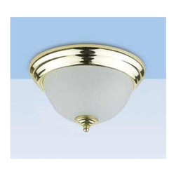 Cal Lighting - 2-Light PLC Ceiling Flush Mount Light in Polished Brass Finish (Small) - Choose Size: Small. Requires 2 pcs. 13W bulbs (not included). PLC ceiling lamp. Polished Brass finish. Small:. Height: 6 in.. Base: 11 in. Dia.. Large:. Height: 7 in.. Base: 13 in. Dia.