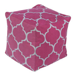 Tile Relief Pouf in Plum - Pattern out your textiles for a fun way to play with a hot trend. This Moroccan-inspired pouf lets you inject some bright color into your surroundings, and it's majorly comfortable to boot.