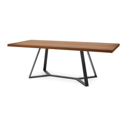Domitalia - Archie-L-240 Rectangular Table - Anthracite Finish - Walnut Top - An ode to the beauty of angles and shapes, the Archie-L-240 Rectangular Table features an intriguing base comprised of four legs that bend and converge into a Y-shape. This modern dining table features a solid, rectangular walnut top and a lacquered steel frame, creating both a timeless and durable piece.
