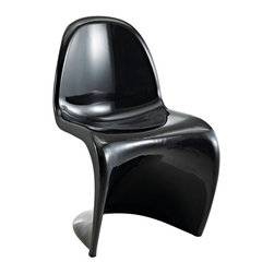 Modway Furniture - Modway Slither Dining Side Chair in Black - Dining Side Chair in Black belongs to Slither Collection by Modway Sleek and sturdy, rock back and forth in comfort with this injection molded marvel. Constructed from a single piece of strong ABS plastic, the ��_��_��_��_��_s��_��_��_��_��_ shaped Slither chair can be found in many fashionable settings. Perfect for dining areas in need of a little zest, the design is versatile, fun and lively. Surprisingly cushy, choose from a selection of vibrant colors that won't fade over time. Slither is also perfect for spaces short on room. Set Includes: One - Slither Chair Side Chair (1)