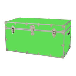 Rhino - Toy Trunk - Neon Green (Large) - Choose Size: LargeWheels are not included. Includes two nickel plated steel universal wheel adapter plates. Wheel adapter plates mounted on side of the trunk. American craftsmanship. Several obscure ventilation holes to provide plenty of air should your child ever go into the trunk and have someone close it on them. Strong hand-crafted construction using both old world trunk making skills and advanced aviation rivet technology. Steel aircraft rivets are used to ensure durability. Heavy duty proprietary nickel plated steel latches and hardware. Heavy duty nickel plated steel lid hinges plus lid stays for keeping lid propped open. Tight fitting steel tongue and groove lid to base closure to keep out moisture, dirt, insects, odors etc.. Stylish lockable nickel plated steel trunk lock has loop for attaching padlock. Discrete ventilation holes. Special soft-close lid stay. Nylon cordura exterior laminate. Lifetime warranty. Made from 0.38 in. premium grade baltic birch hardwood plywood with nickel-plated steel hardware. Large: 32 in. W x 18 in. D x 14 in. H (29 lbs.). Extra large: 36 in. W x 18 in. D x 18 in. H (36 lbs.). Jumbo: 40 in. W x 22 in. D x 20 in. H (67 lbs.). Super jumbo: 44 in. W x 24 in. D x 22 in. H (69 lbs.)Safety First! A superior quality, heavy-duty toy trunk that¢s designed for a child¢s well-being, yet looks handsome in any room. Toy Trunk is constructed from the highest quality components. This treasure chest incorporates several safety features to insure that it¢s child friendly. Those include small ventilation holes should a child ever decide to climb in and take a nap, as well as specially designed, American made soft-close lid stays. The lid stays keep the lid from slamming shut. In fact, the lid will only close if you push it down. This will keep small hands protected. Also, the toy trunk will not lock on its own. Toy Trunk are conveniently sized and ruggedly built. They¢re strong enough to stand on! Best of all, these advanced design wheels do not add any extra height to the trunk. Even with the wheels on, the trunk is stackable.