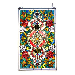Chloe Lighting - Eureka Sonara-Glass Victorian Window Panel - Note: Shade colors will appear darker and less vibrant when not illuminated.. The handcrafted nature of this product creates variations in color, size and design. If buying two of the same item, slight differences should be expected.. This stained glass product has been protected with mineral oil as part of the finishing process. Please use a soft dry cloth to remove any excess oil. . Due to the nature of stained-glass, colors may vary. Antique Bronze Finish. Copper-foiled glass with Metal & bronze frame. No Assembly Required. 20 in. W x 32 in. H (11 lbs.)Simply stunning, darling. The perfect combination of elegant mini-bell shades and scrolling ironwork creates pure romance in the Eureka Sonara. Donned with high caliber detailing and a touch of glowing mystique, this window glass panel makes a bold statement over any room in your home.