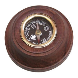 """Handcrafted Model Ships - Decorative Black Faced Wooden Compass 3"""" - Nautical Compass - Ideal for the nautical enthusiast and explorer in your life, this decorative black faced wooden compass 3"""" is the essential navigational tool. Crafted in the classic style from solid wood with brass trimming, this compass is as beautiful as it is durable."""