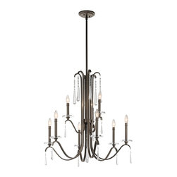 Kichler Lighting - Kichler Lighting Tara 9-Light Transitional Chandelier X-ZO98234 - With this 9 light chandelier from the Tara&trade: collection, chic is in the details. Crystal accents are the pearls of the outfit, giving each piece a finished feel that's sophisticated, polished and feminine. The rich Olde Bronze&trade: finish further enhances the elegance of this design.