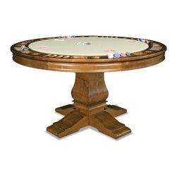 "California House - berkeley 54-in reversible poker table - These solid hardwood tables are custom-crafted in the US in maple with your choice of four wood finishes and four felt colors. Choose from Berkeley, Claridge, Robie or Taliesin base styles. All tables available in 42"", 48"", 54"", 60"",  and 66"", diameter. The gaming top reverses to a dining top to extend the utility of your table for everyday use."