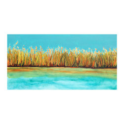 "Original Landscape Painting, River's Edge, 12"" x 24"" - This vibrant landscape is full of rich turquoise, aqua, orange, yellow and green hues.  The colors really sing in this piece, and it looks fabulous with most any color scheme."